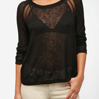 Sparkle & Fade Ladder Inset Sweater Knit Top