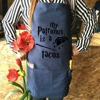 Harry potter Apron Tacos jean apron , Patronus is a Tacos Harry potter funny Harry Potter Kitchen spell magic Harry potter Gift