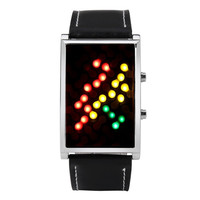 New Genome Japanese Inspired Red Yellow Green LED Bracelet Wrist Watch (Color: Black) = 1841480388