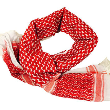 Original Palestinian Red Keffiyeh Shemagh Scarf Arab Fashion Shawl Wrap Jordan Jordanian Model