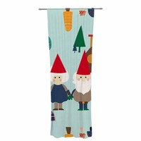 "bruxamagica ""Gnome Blue"" Blue Multicolor Holiday Kids Digital Vector Decorative Sheer Curtain"