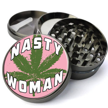 Nasty Woman Extra Large Weed Grinder with Kief Catcher - Deluxe Feminist Cheap Weed Grinder
