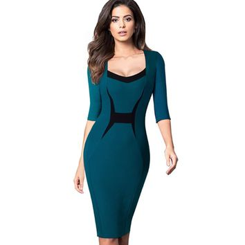 Elegant Professional Women ColorBlock Contrasting Casual Wear To Work Business Fitted Sheath Bodycon Pencil Dress EB345