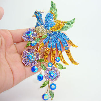 Vintage fashion luxury colorful peacock bird animal brooch pins pendant high quality crystal rhinestones