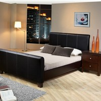 Black bycast leather like vinyl upholstered queen size bed frame