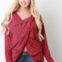 Marled Knit Twisted Sweater Top