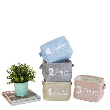 Four Color Small Size Fabric Organizer Box with Handles (Set of 4)