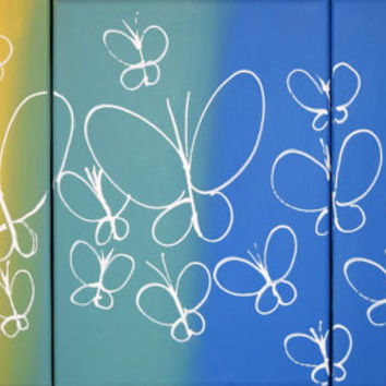 triptych butterfly wings gifts wall art abstract original decorative home acrylic office painted 3 panel paintings on canvas contemporary