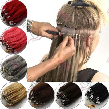 14-26inch 100s Easy Loop/Micro Ring Beads Human Hair Extensions Ombre Hair Straight