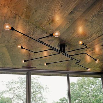 Industrial Pendant Lights,  Multiple Rod Wrought Iron Ceiling Lamp, Unusual and Interesting Art Lighting, E27 Bulb