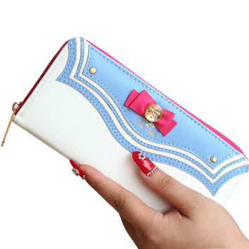 Bow Sailor Moon Women Long Change Purse Bow Wallet Clutch Bag Card Holder New Fashion