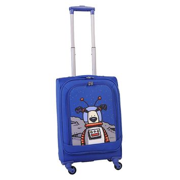 Ed Heck Luggage, Moon Dog 20-inch Spinner Carry-On (Blue)