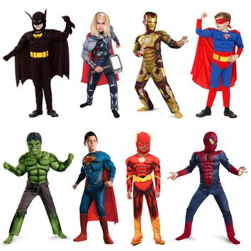 Children Superhero Cosplay Muscle Suit Movies The Avengers Batman Superman Ironman The Flash Role-playing Costumes Mask Sets