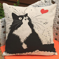 Factory Direct Supply 2016 New Cute Cartoon Cat Printing Short Soft Plush Throw Pillow Cushion Headrest For Kids Gift