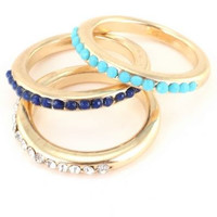 Pave Stone Three Ring Set - Turquoise/Blue