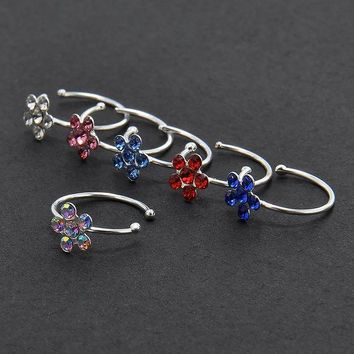 ac PEAPO2Q New Small Thin Flower Clear Crystal Nose Ring Stud Hoop-Sparkly Crystal Nose Ring Free shipping