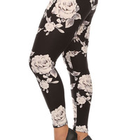 Women's Plus Big White Rose Pattern Print Leggings - Black White