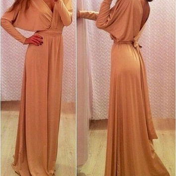 Hot Sale V-neck Long Sleeve Shaped Prom Dress One Piece Dress [9324572932]