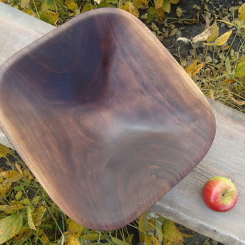 Black walnut wood bowl - Hand carved wood bowl - Walnut wood salad bowl - Wood salad bowl - Fruit bowl - Serving bowl - Popcorn bowl - Art