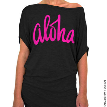 Aloha - Black with Pink Longer Length Slouchy Tee (Small - Plus Sizes)