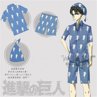 full set Attack On Titan Levi Daily Wear Unisex Pajamas Home Sleepwear anime Cosplay halloween Costume for women harajuku 3 in1