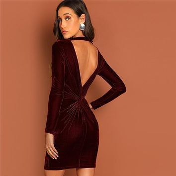 Burgundy Cutout and Twist Back Velvet Bodycon Dress Solid Short Backless Elegant Sexy Dress  Women Party Dresses
