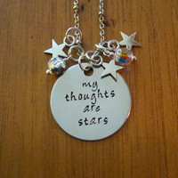 """The Fault in our Stars Inspired Necklace. Quote """"My Thoughts Are Stars"""". Hazel and Augustus. Swarovski crystal. TFIOS"""