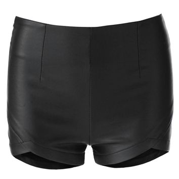 Stylish Solid Color Zippered Faux Leather Shorts For Women