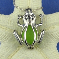 Green Seaglass Frog Necklace