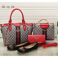 GUCCI NEW Counter Women's Exquisite Four Piece Messenger Bag/Shoe F-KSPJ-BBDL red