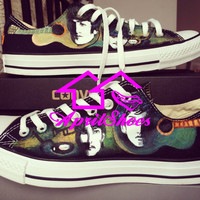 Custom Low Top Converse, The Beatles Inspired Shoes, Hand Paint All Star Low Cut, Guitars on Converse Sneakers, Men Shoes and Women Shoes