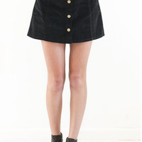 Button Front Corduroy Skirt - Black