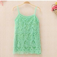 Lace Crochet Slim Vest