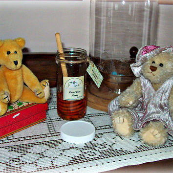 Jar of Fake Honey With Honey Dipper Photo Prop Home Staging