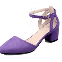 Womens Glamorous Ankle Strap Low Heels