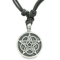 Amulet Magical Pentacle Star Defense Circle Pentagram Pewter Pendant Necklace