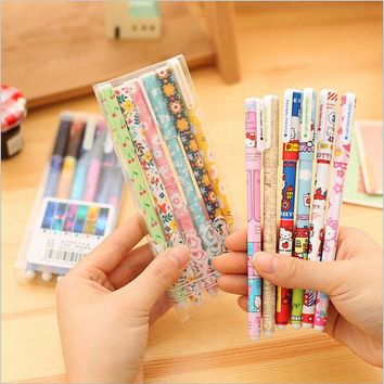 DCCKL72 6 PCS/pack Hot Sale Stationery Store 0.38mm Colored Gel Pens Cute Korean School Office Supplies Kawaii Floral Sign Pens