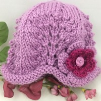 Lacy Baby Hat 6-12 mos Berry Hat Blackberry Flower Caron Simply Soft