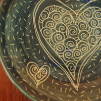 Jewellery bowl ring dish slate blue with hearts design jewelry bowl storage