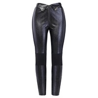 ADDI Women's Carving Pencil Faux Leather Pants