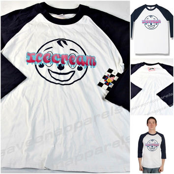 BBC Billionaire Boys Club Men's ICE CREAM Men's Graphic 3/4 Sleeve T Shirt Sz L WHITE