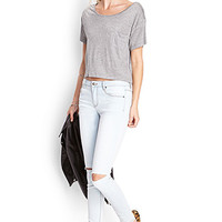 FOREVER 21 Ripped Denim Skinny Jeans Light Denim 30