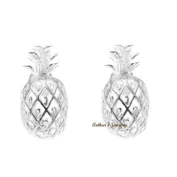925 STERLING SILVER 8MM HAWAIIAN PINEAPPLE POST STUD EARRINGS