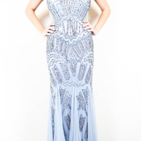 Adrianna Papell Baby Blue Beaded Gown
