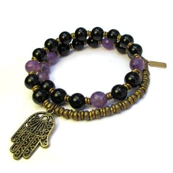 Soothing and Healing, Genuine Onyx and Amethyst 27 Bead Wrap Mala Bracelet