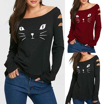 Women's Cat Cold Shoulder Loose Casual Long Sleeve Shirt Tops Clothes Tshirt Tops Youthful Style Patterns Women T-shirt Top Tees
