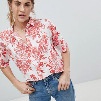 Wednesday's Girl Cropped Boxy Shirt In Tropical Floral Print at asos.com