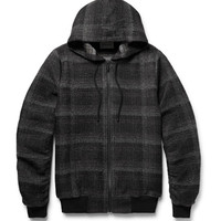 Public School - Ollan Checked Textured-Flannel Zip-Up Hoodie