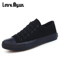 all BLACK Girls Casual Canvas Shoes Breathable Walking Shoes Tenis Autumn New Fashion Women's Shoes Vulcanize  Flats Shoes LL-25