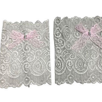 Light Grey Floral Scalloped Stretch Lace Pink Bow Peek a Boo Boot Cuffs Lacey Boot Cuffs Boot Toppers